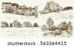 rural landscape. hand drawn set. | Shutterstock .eps vector #563364415