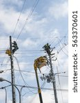 electrical utility worker check ...   Shutterstock . vector #563370601