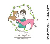 couple in love  hand draw ... | Shutterstock .eps vector #563375395
