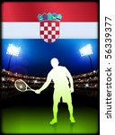 croatia flag and tennis player...   Shutterstock .eps vector #56339377