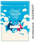 cute romantic card for... | Shutterstock .eps vector #563398297