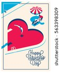 cute romantic card for... | Shutterstock .eps vector #563398309