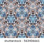 kaleidoscope seamless pattern.... | Shutterstock .eps vector #563406661