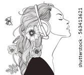 beautiful girl with headphones | Shutterstock .eps vector #563413621