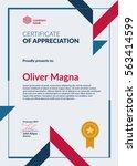certificate of appreciation... | Shutterstock .eps vector #563414599