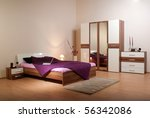 Stock photo bedroom interior showcase including bed wardrobe bedside table commodes linen press 56342086