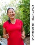 Asian Woman Exercising .