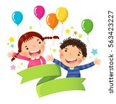 cute boy and girl with balloon... | Shutterstock .eps vector #563423227