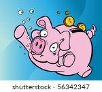 drowning piggy bank | Shutterstock .eps vector #56342347