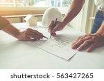 hands of engineer working on... | Shutterstock . vector #563427265