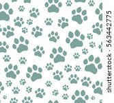 paw print seamless. traces of... | Shutterstock .eps vector #563442775