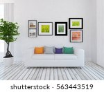 white room with a sofa. living... | Shutterstock . vector #563443519