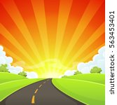 summer road with shining sun ... | Shutterstock .eps vector #563453401
