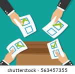 hands leaving votes. voting | Shutterstock .eps vector #563457355