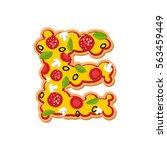 letter e pizza font. italian... | Shutterstock .eps vector #563459449
