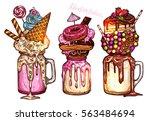 monstershakes in color sketch... | Shutterstock .eps vector #563484694