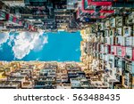 looking up at old building to... | Shutterstock . vector #563488435