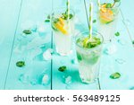 selection of summer refreshing... | Shutterstock . vector #563489125