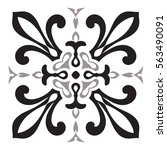hand drawing pattern for tile... | Shutterstock .eps vector #563490091