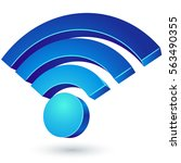 blue glossy wi fi 3d sign... | Shutterstock . vector #563490355