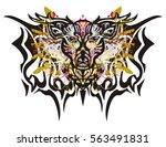 deer butterfly splashes. grunge ... | Shutterstock .eps vector #563491831