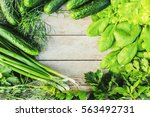 green vegetables on a wooden...   Shutterstock . vector #563492731