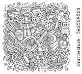 cartoon cute doodles hand drawn ... | Shutterstock .eps vector #563509501