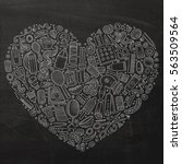 chalkboard vector hand drawn... | Shutterstock .eps vector #563509564
