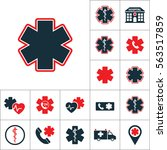 life star icon  medical set on... | Shutterstock .eps vector #563517859