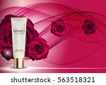 skin toner bottle tube template ... | Shutterstock .eps vector #563518321