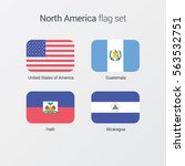 north america flat flags set  | Shutterstock .eps vector #563532751