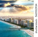 miami beach aerial skyline at... | Shutterstock . vector #563532934
