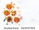 traditional belgian waffles... | Shutterstock . vector #563537344