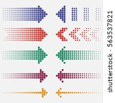 dotted arrows. dots pointers ... | Shutterstock .eps vector #563537821