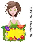 vector card with beautiful lady ... | Shutterstock .eps vector #56353891
