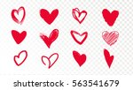 collection of doodle red hearts ... | Shutterstock .eps vector #563541679