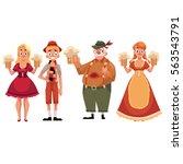 people in traditional german ... | Shutterstock .eps vector #563543791