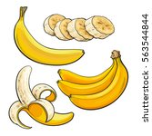 sliced  peeled  singl and bunch ... | Shutterstock .eps vector #563544844