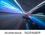 view from side of car moving in ... | Shutterstock . vector #563546809