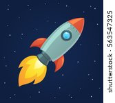 cartoon rocket on space... | Shutterstock .eps vector #563547325
