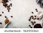 background with assorted coffee ... | Shutterstock . vector #563553361