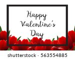 bright banner with red tulips... | Shutterstock .eps vector #563554885