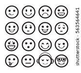 set of outline emoji icons.... | Shutterstock .eps vector #563564641