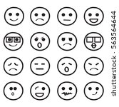 set of outline smiley faces.... | Shutterstock .eps vector #563564644