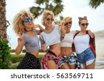 close up portrait of a group of ... | Shutterstock . vector #563569711