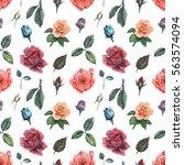 seamless watercolor pattern... | Shutterstock . vector #563574094