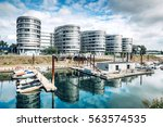 duisburg marina with ships and... | Shutterstock . vector #563574535