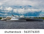 Large Silver Trimaran. Luxury...