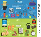 fitness and gym horizontal... | Shutterstock .eps vector #563579509