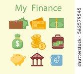 finance icons. money  cash ... | Shutterstock .eps vector #563579545